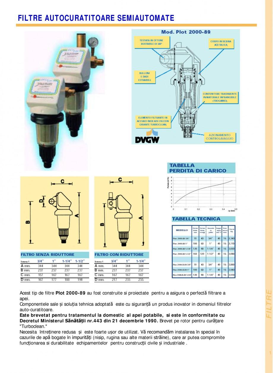 Pagina 1 - Filtre de apa pentru uz casnic si industrial NOBEL FTA 070, FTA 050 Fisa tehnica Romana...