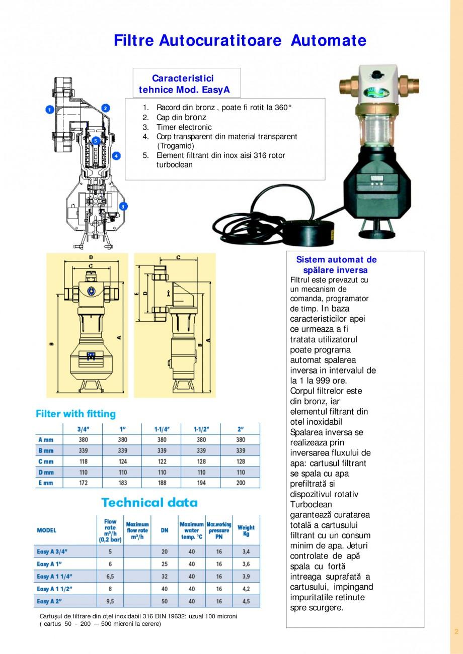 Pagina 2 - Filtre de apa pentru uz casnic si industrial NOBEL FTA 070, FTA 050 Fisa tehnica Romana...
