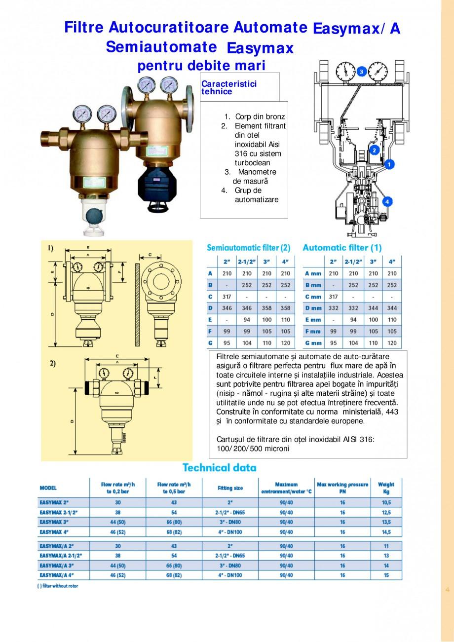 Pagina 4 - Filtre de apa pentru uz casnic si industrial NOBEL FTA 070, FTA 050 Fisa tehnica Romana...