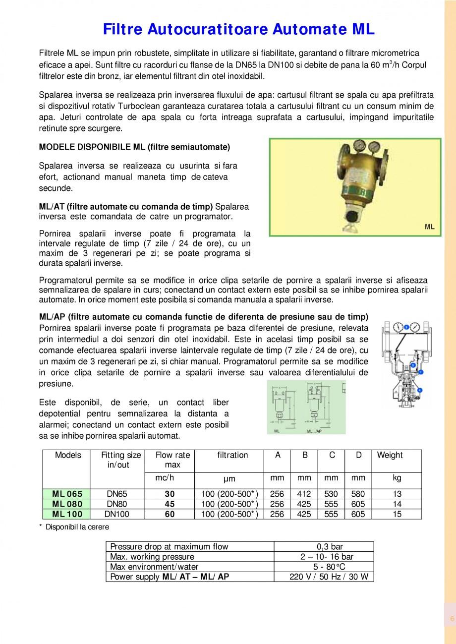 Pagina 6 - Filtre de apa pentru uz casnic si industrial NOBEL FTA 070, FTA 050 Fisa tehnica Romana...