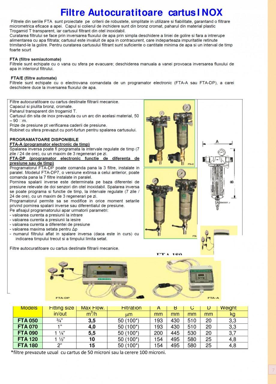 Pagina 7 - Filtre de apa pentru uz casnic si industrial NOBEL FTA 070, FTA 050 Fisa tehnica Romana a...