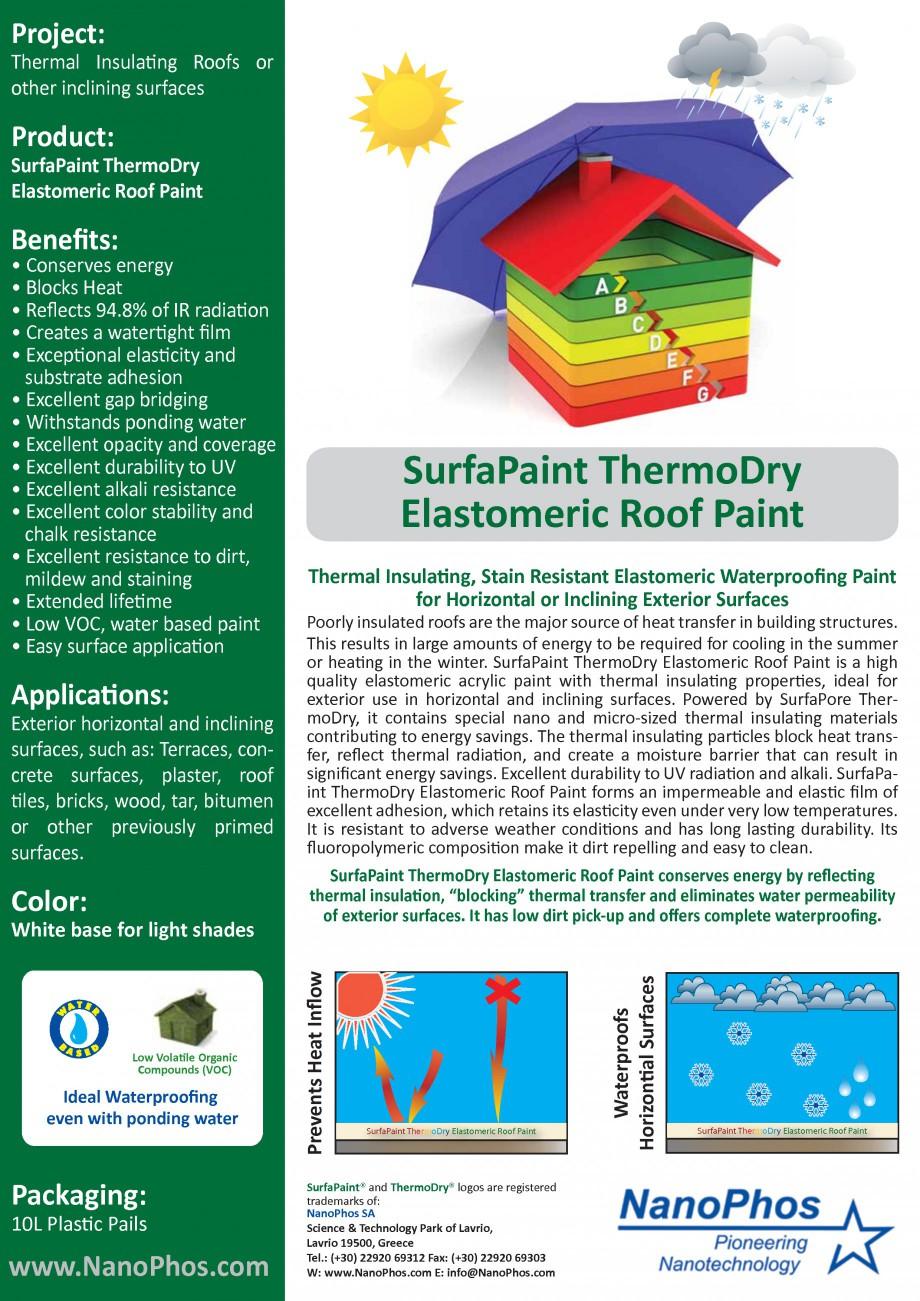 Fisa Tehnica Vopsea Elastomerica Termoizolabila Si Hidroizolabila Thermodry Roofpain Nanophos