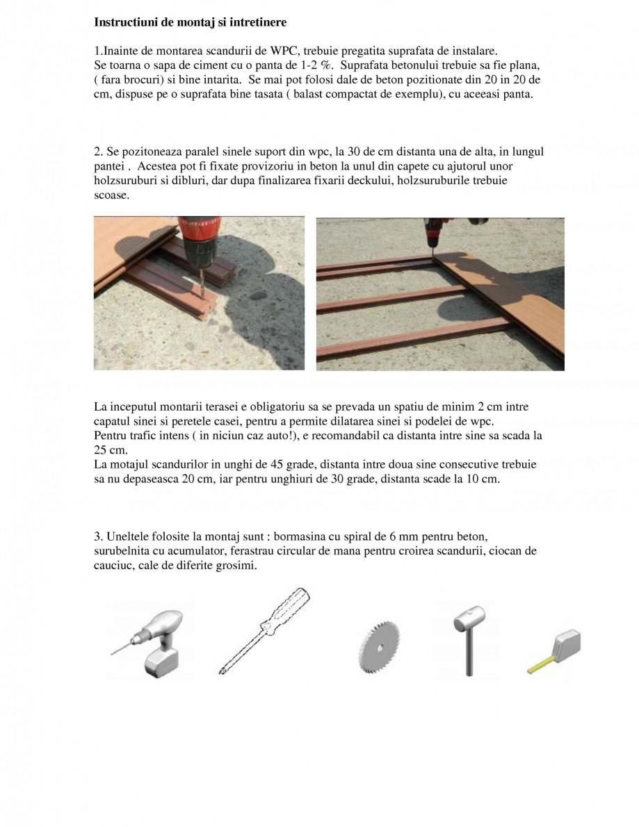 Pagina 1 - Montajul si intretinerea placilor din lemn WPC BENCOMP Instructiuni montaj, utilizare...