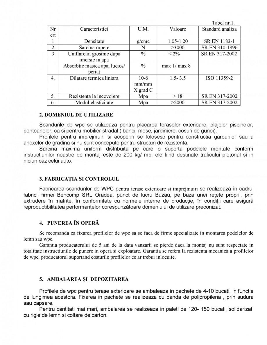 Pagina 2 - Profile din lemn WPC BENCOMP Fisa tehnica Romana