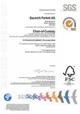 Certificat SGS BAUWERK Parkett
