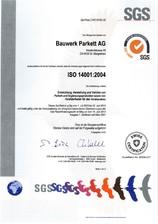 Certificat ISO 14001:2004 BAUWERK Parkett