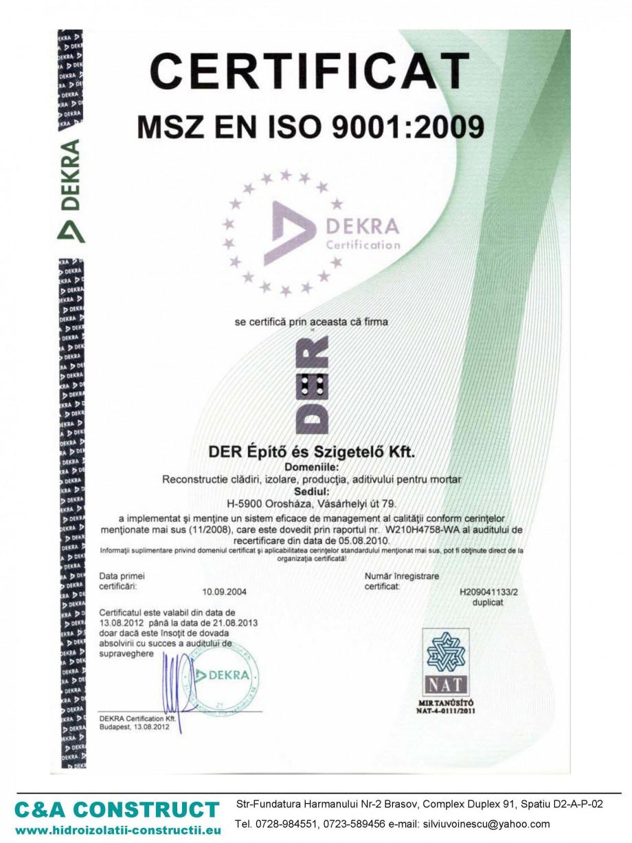 Pagina 1 - Certificat MZS EN ISO 9001:2009 c&a construct DER POR Certificare produs Romana
