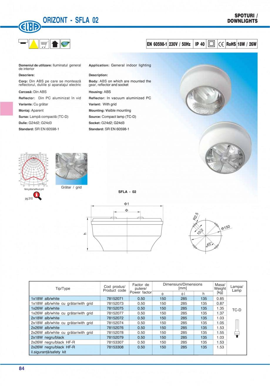 Pagina 1 - Spot rotund ELBA-COM Orizont - SFLA 02 Fisa tehnica Romana