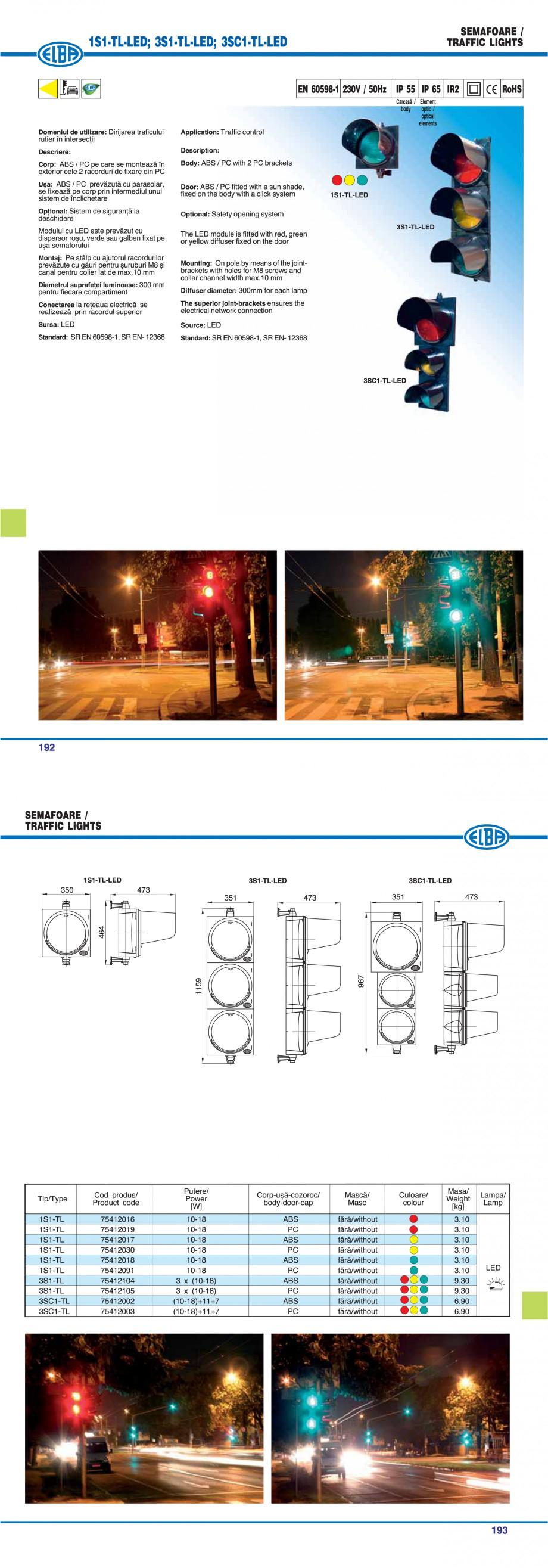 Pagina 1 - Semafor ELBA 3S1-TL-LED Fisa tehnica Romana, Engleza