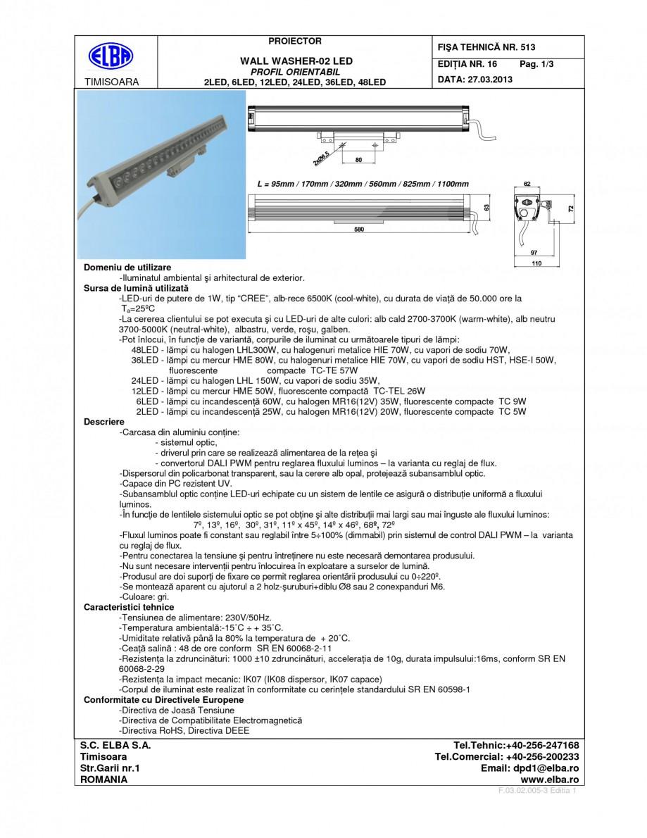 Pagina 1 - Proiector ELBA WALL WASHER 02 Fisa tehnica Romana, Engleza PROIECTOR  FIŞA TEHNICĂ NR. ...