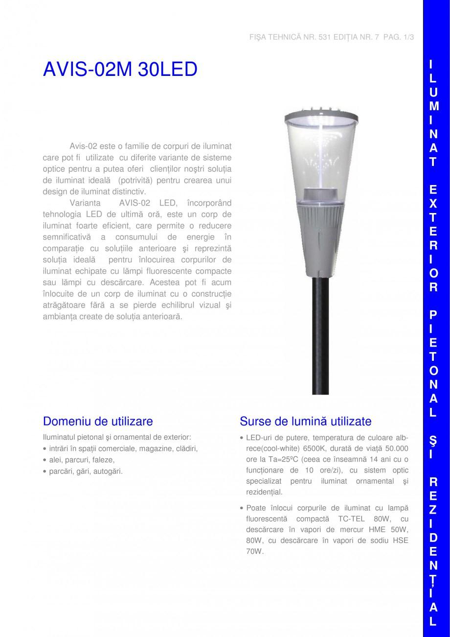 Pagina 1 - Corp pentru iluminat pietonal ELBA AVIS 02M 30 LED Fisa tehnica Romana, Engleza FIŞA...