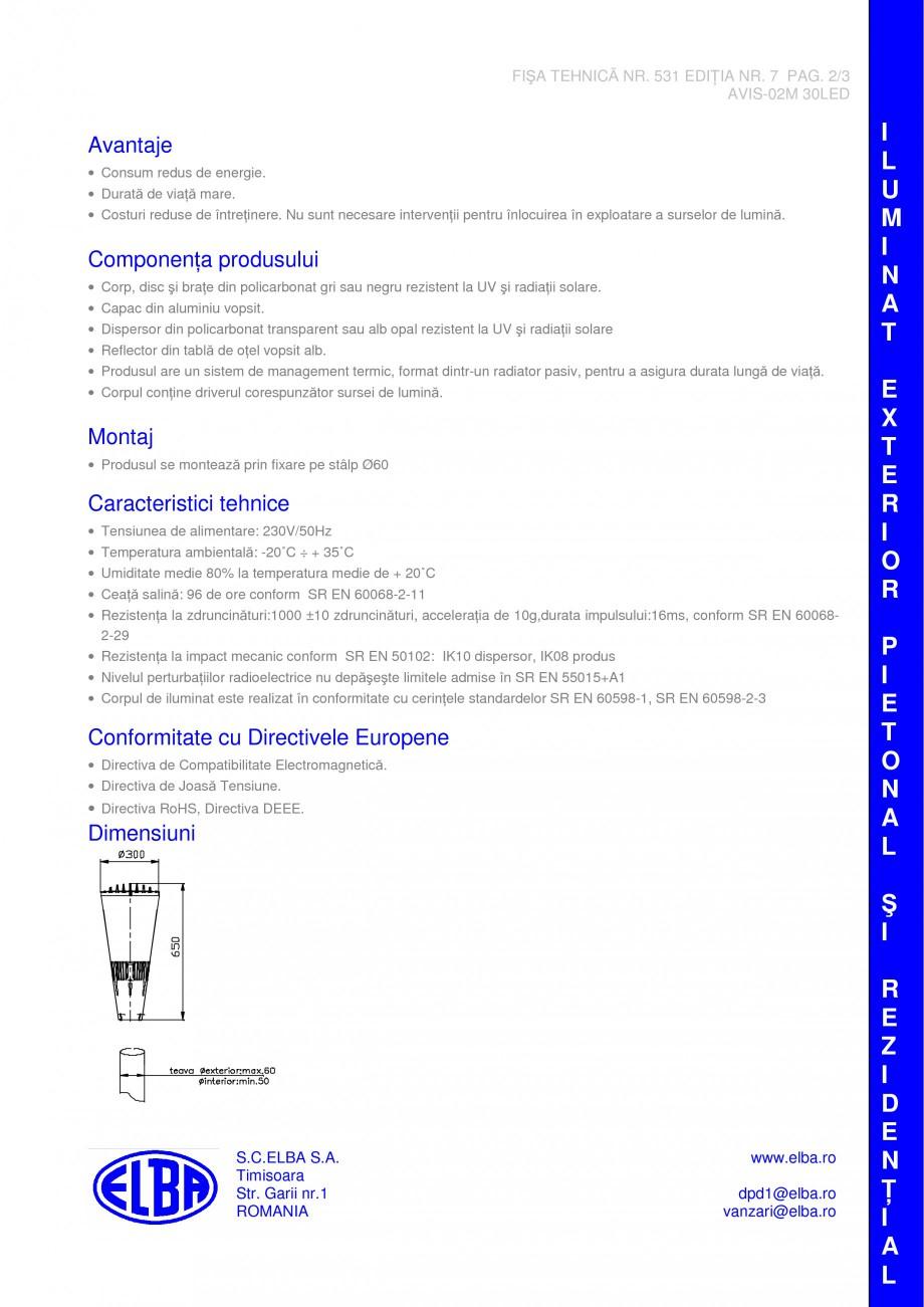 Pagina 2 - Corp pentru iluminat pietonal ELBA AVIS 02M 30 LED Fisa tehnica Romana, Engleza...