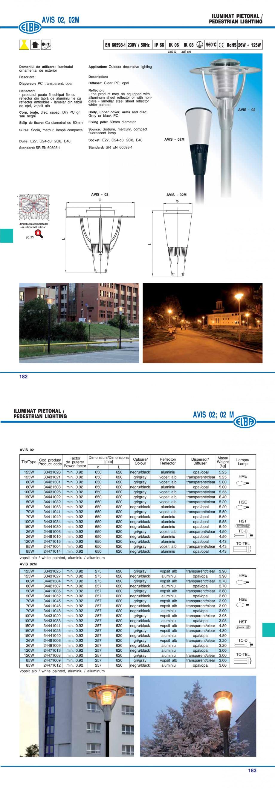 Pagina 1 - Corp pentru iluminat pietonal ELBA AVIS 02M Fisa tehnica Romana, Engleza