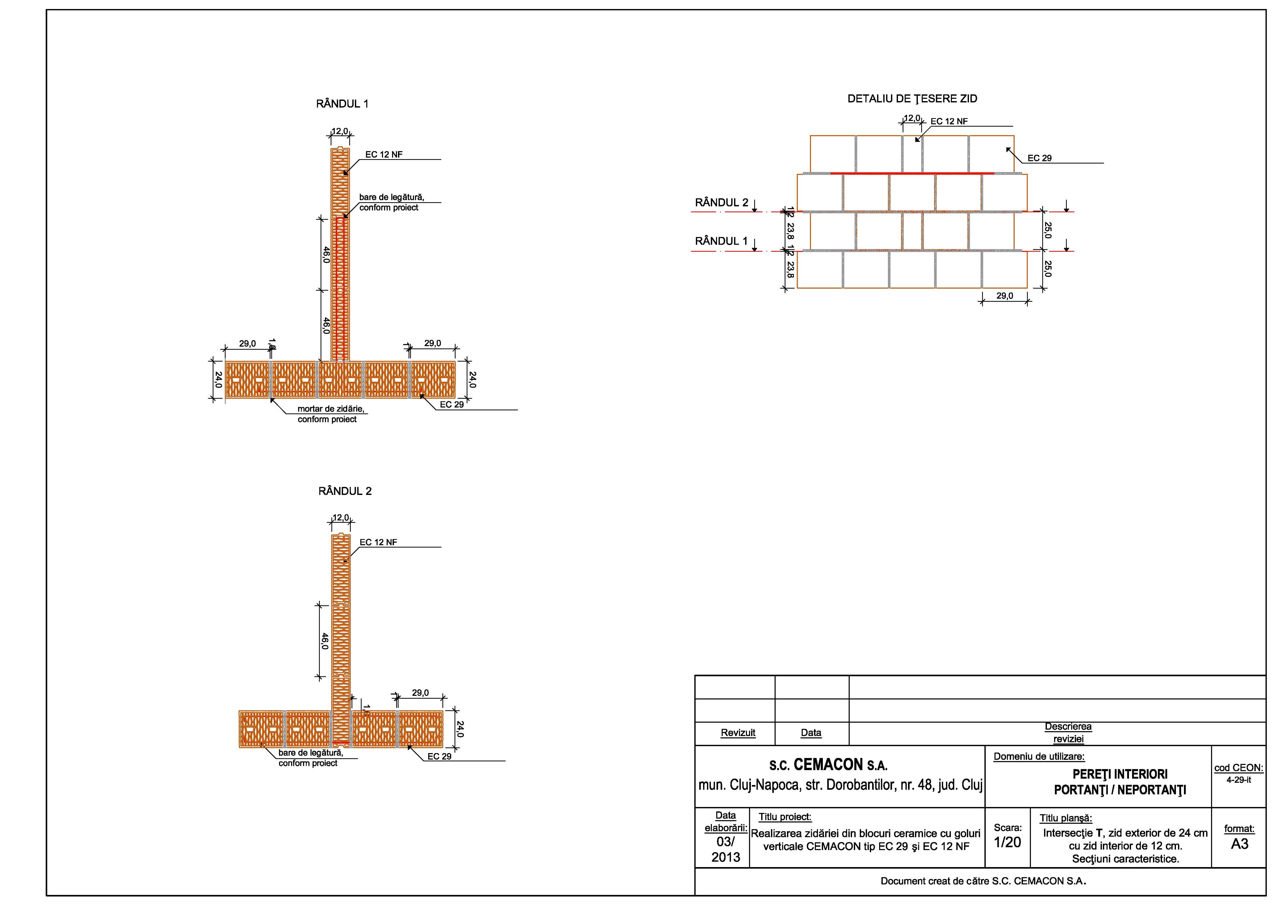 Pagina 1 - CAD-PDF Intersectie in T, zid exterior de 24 cm cu zid interior de 12 cm CEMACON Detaliu ...