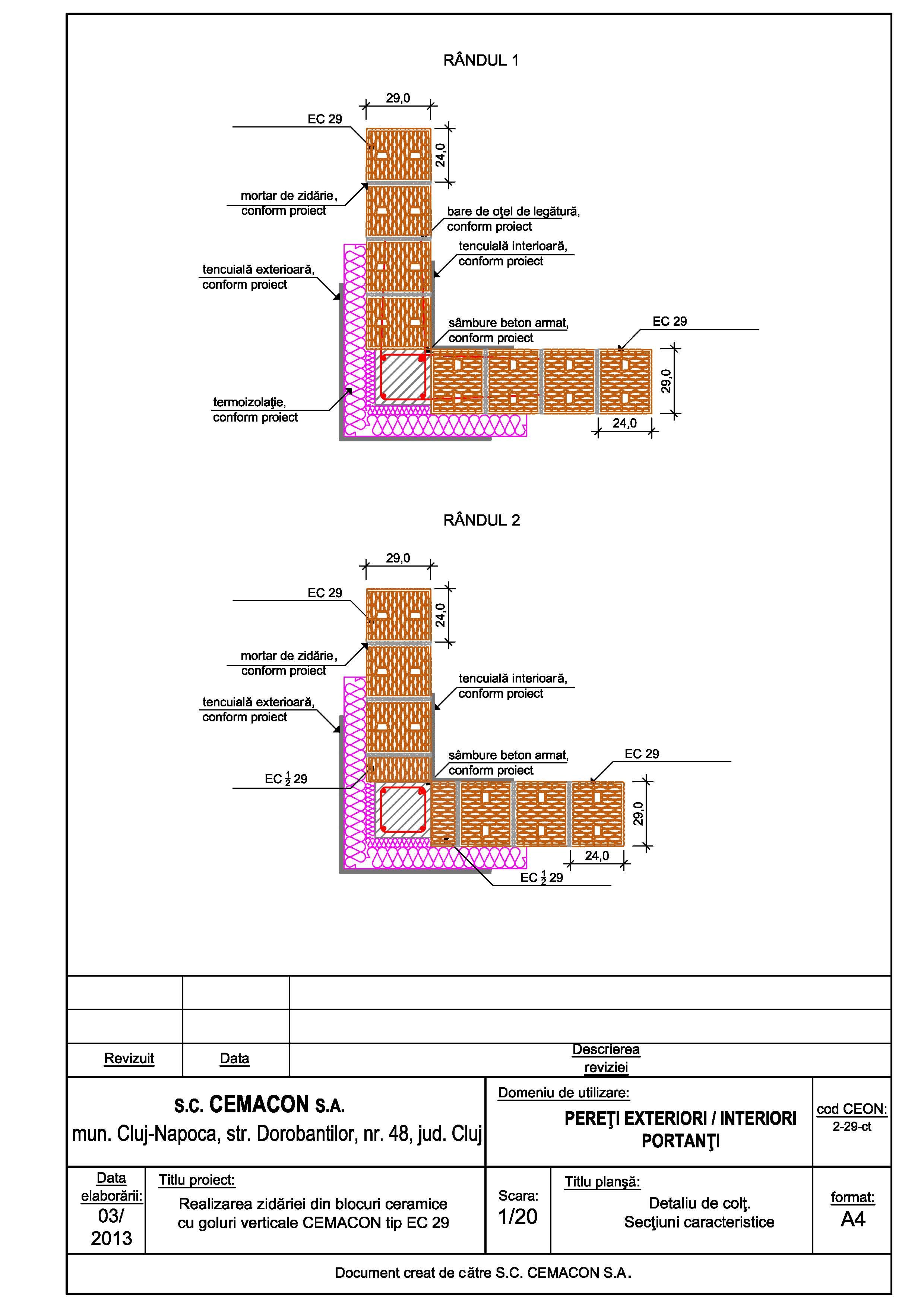 Pagina 1 - CAD-PDF Detaliu de colt CEMACON Detaliu de montaj EVOCERAMIC EC 29