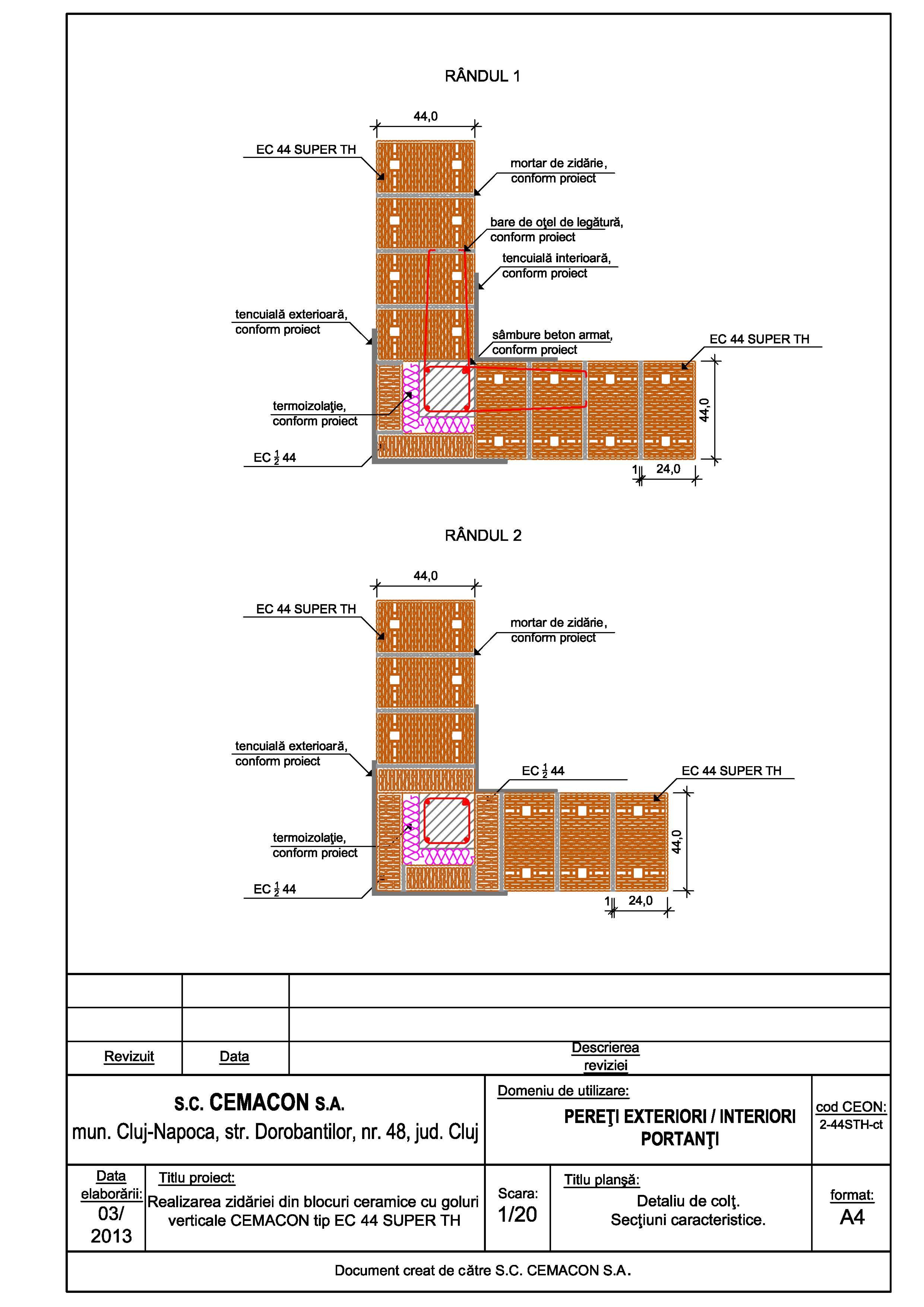 Pagina 1 - CAD-PDF Detaliu de colt CEMACON Detaliu de montaj EVOCERAMIC EC 44 LM