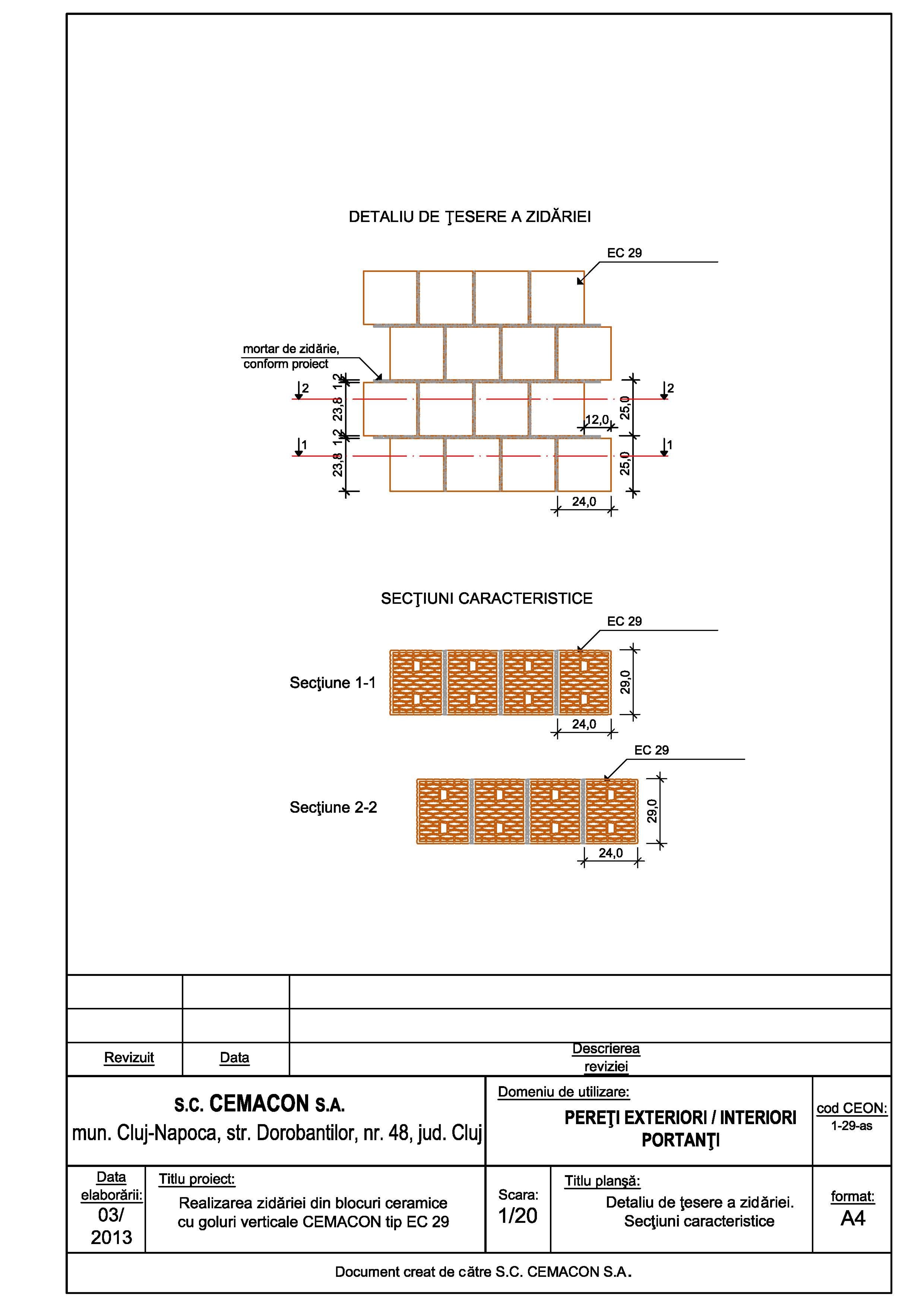 Pagina 1 - CAD-PDF Detaliu de tesere a zidariei CEMACON Detaliu de montaj EVOCERAMIC EC 29