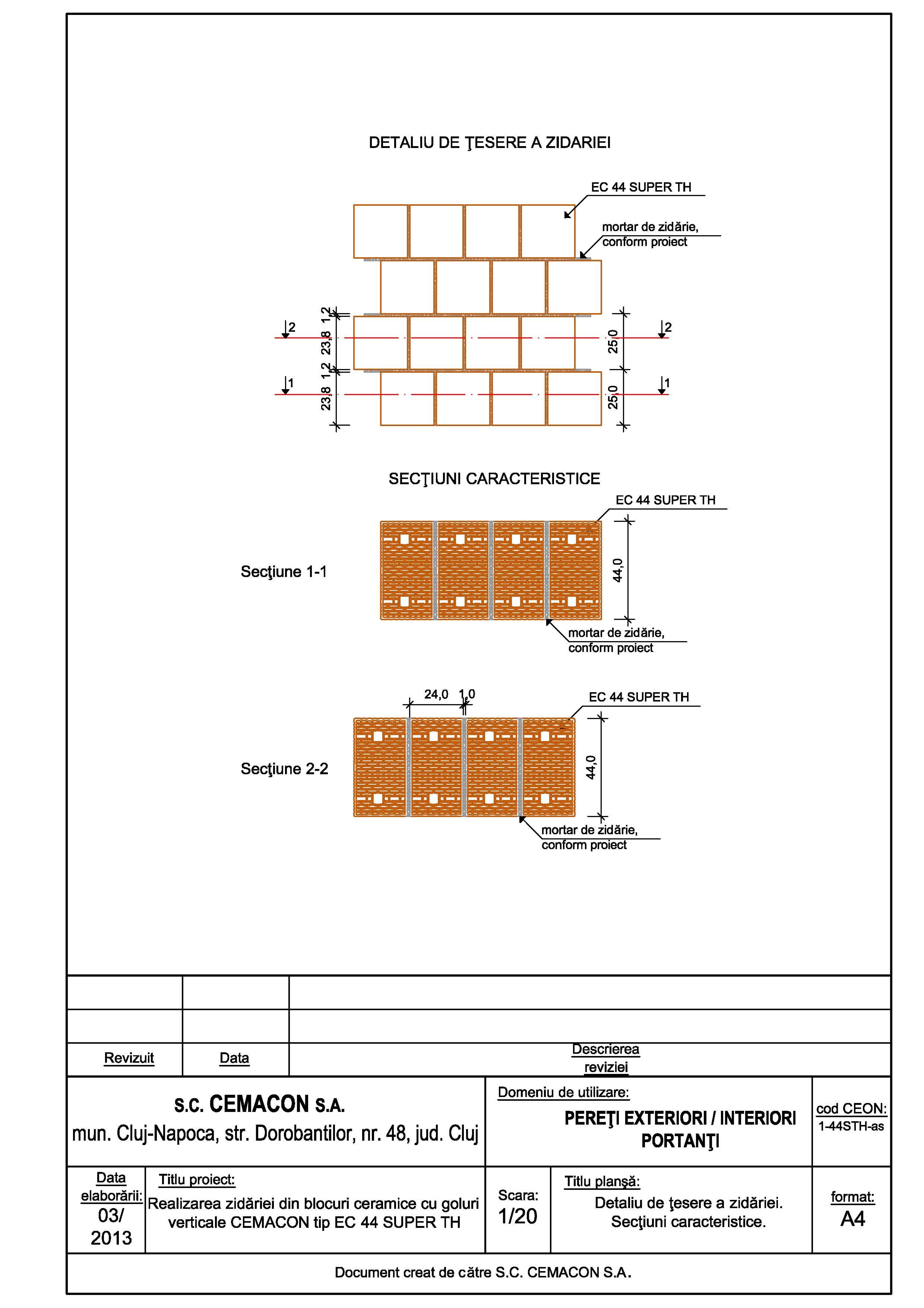 Pagina 1 - CAD-PDF Detaliu de tesere a zidariei CEMACON Detaliu de montaj EVOCERAMIC EC 44 LM