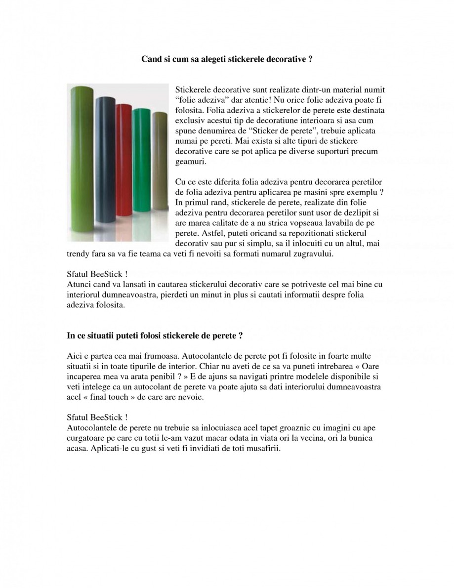 Pagina 1 - Cand si cum sa alegeti stickerele decorative Beestick Catalog, brosura Romana Cand si cum...