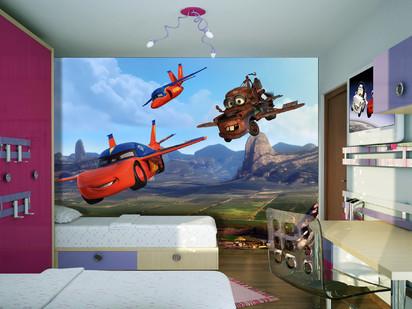 Fototapet camere de copii - Format Mare (360x254) / Fototapet Masinute zburatoare