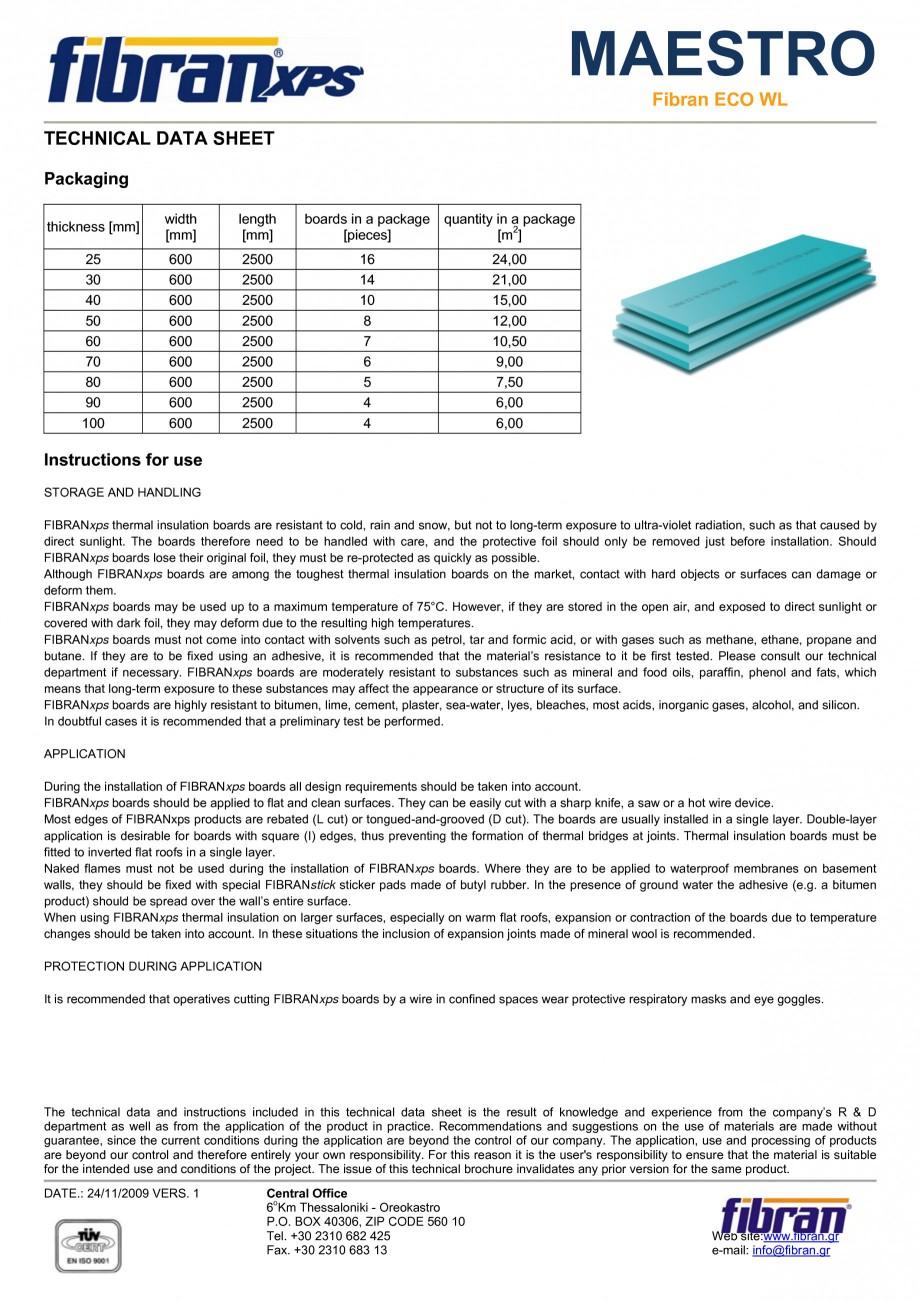 Pagina 2 - Placi din polistiren extrudat FIBRANxps MAESTRO-L Fisa tehnica Engleza ofile Surface...