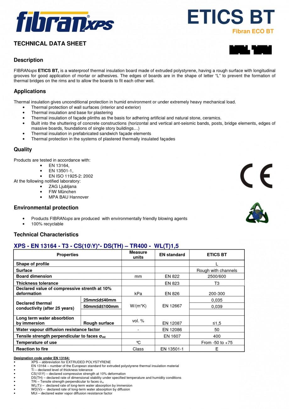 Pagina 1 - Placi din polistiren extrudat FIBRANxps ETICS BT Fisa tehnica Engleza ETICS ΒΤ Fibran...