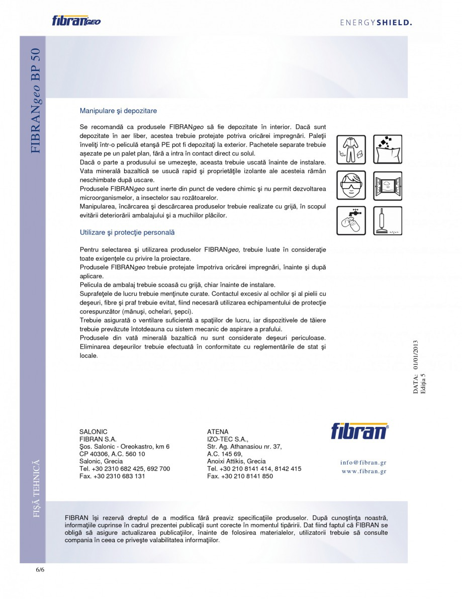 Pagina 6 - Placi izolante rigide FIBRANgeo ΒP 50 Fisa tehnica Romana  nominală Clasificarea...