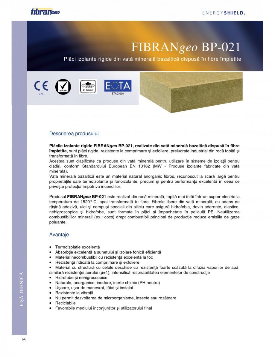 Pagina 1 - Placi izolante rigide FIBRANgeo BP ETICS Fisa tehnica Romana FIBRANgeo BP-021 Plăci...