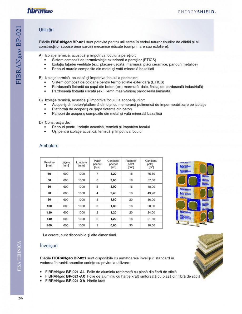 Pagina 2 - Placi izolante rigide FIBRANgeo BP ETICS Fisa tehnica Romana Fibrele libere din vată...