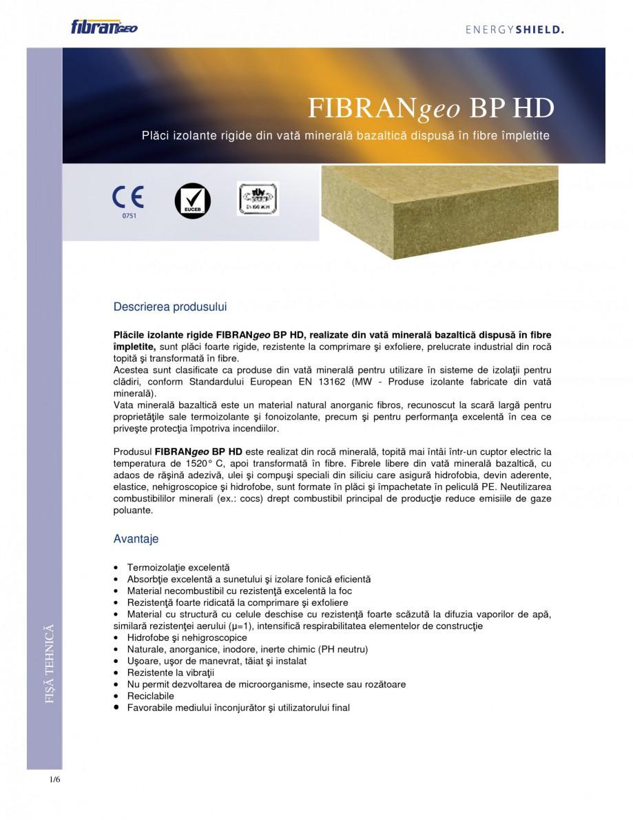 Pagina 1 - Placi izolante rigide FIBRANgeo ΒP HD Fisa tehnica Romana FIBRANgeo BP HD Plăci...