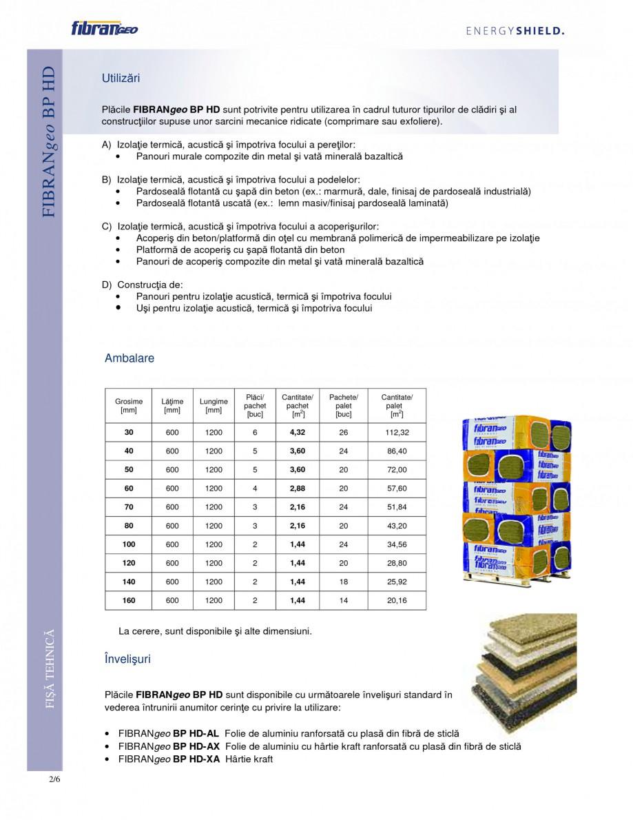 Pagina 2 - Placi izolante rigide FIBRANgeo ΒP HD Fisa tehnica Romana e. Fibrele libere din...