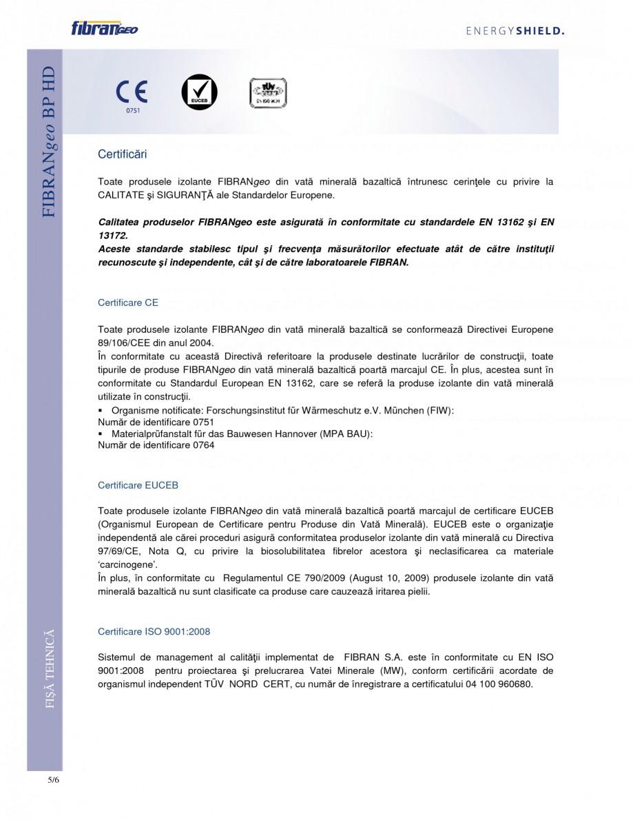 Pagina 5 - Placi izolante rigide FIBRANgeo ΒP HD Fisa tehnica Romana  plasă din fibră de...