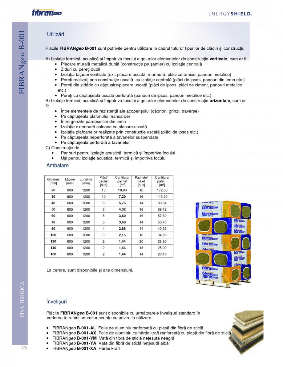 Pagina 2 - Placi izolante semirigide FIBRANgeo Β-001 Fisa tehnica Romana li din siliciu care...