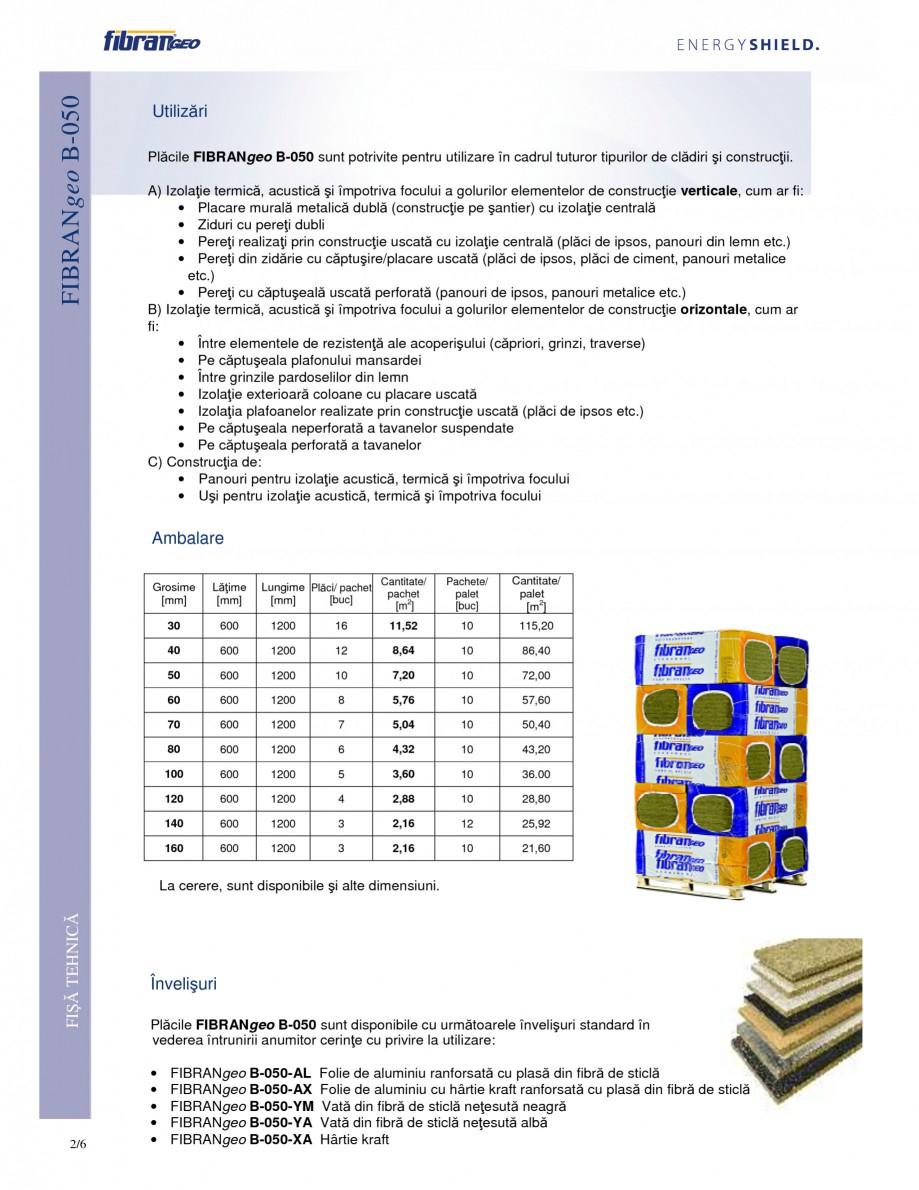 Pagina 2 - Placi izolante flexibile FIBRANgeo Β-050 Fisa tehnica Romana sigură hidrofobia,...