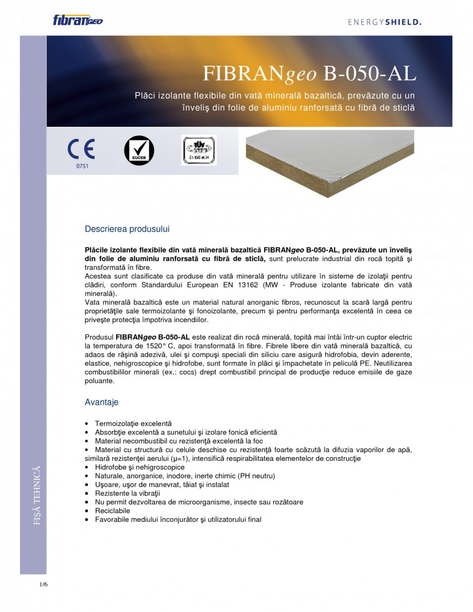 Pagina 1 - Placi izolante flexibile FIBRANgeo Β-050-AL Fisa tehnica Romana FIBRANgeo B-050-AL...