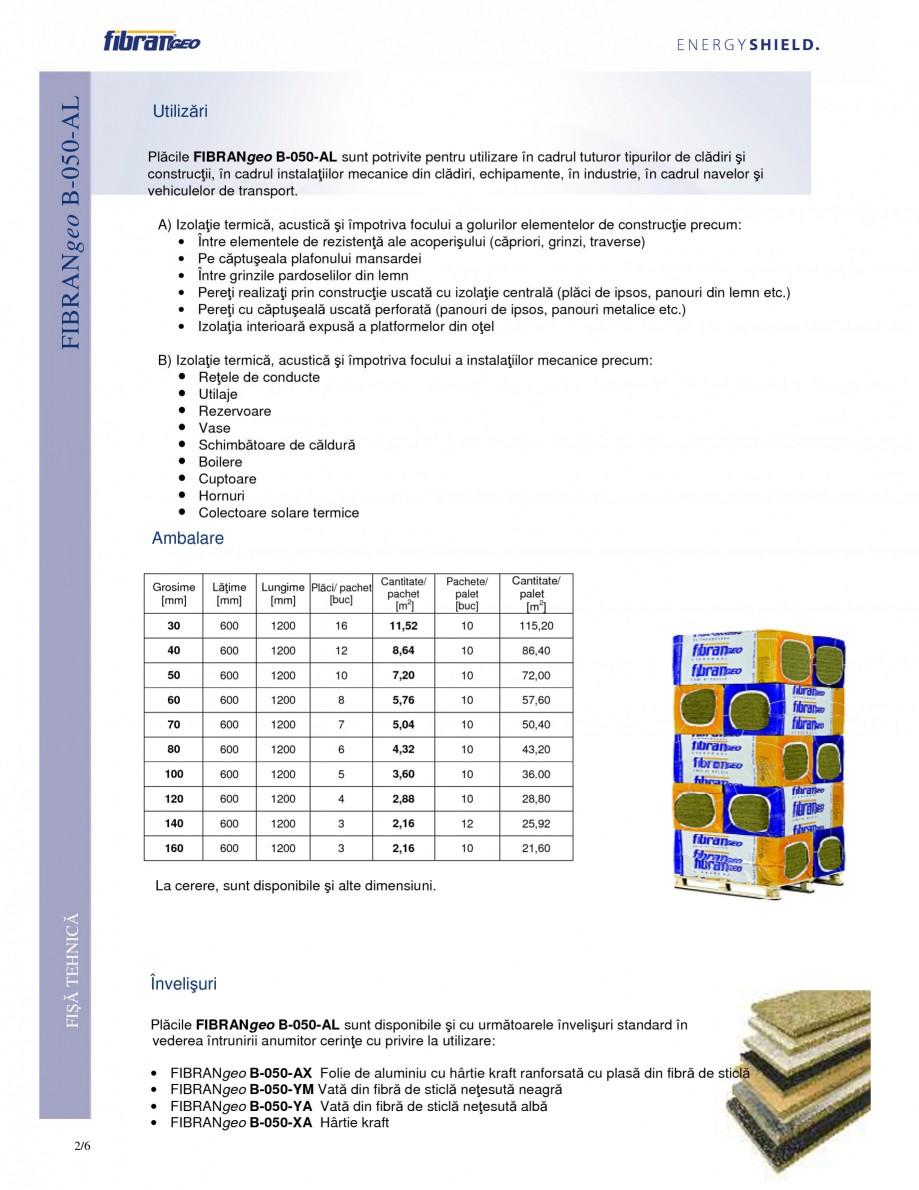 Pagina 2 - Placi izolante flexibile FIBRANgeo Β-050-AL Fisa tehnica Romana tura de 1520° C,...