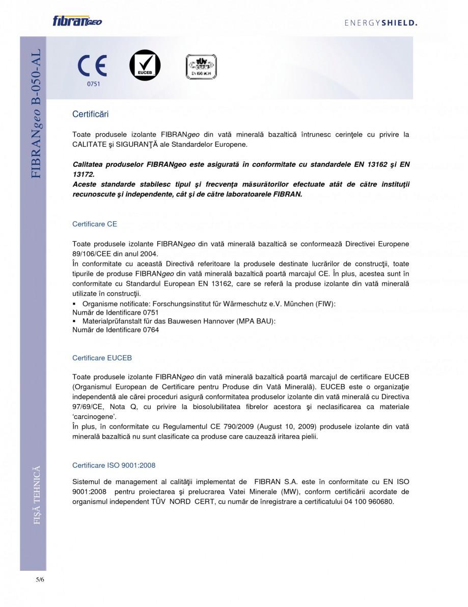 Pagina 5 - Placi izolante flexibile FIBRANgeo Β-050-AL Fisa tehnica Romana bră de sticlă...