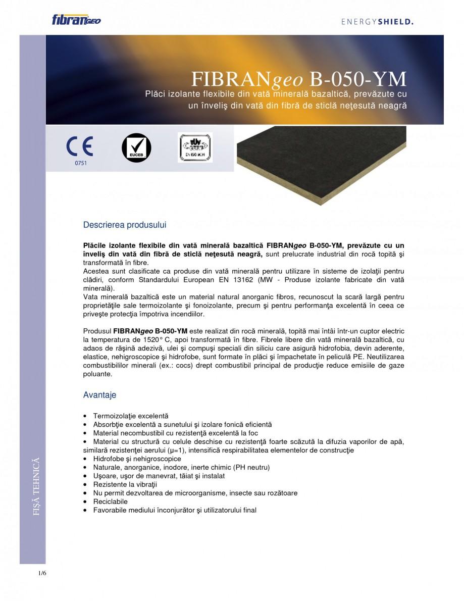 Pagina 1 - Placi izolante flexibile FIBRANgeo Β-050-YM Fisa tehnica Romana Plăci izolante...