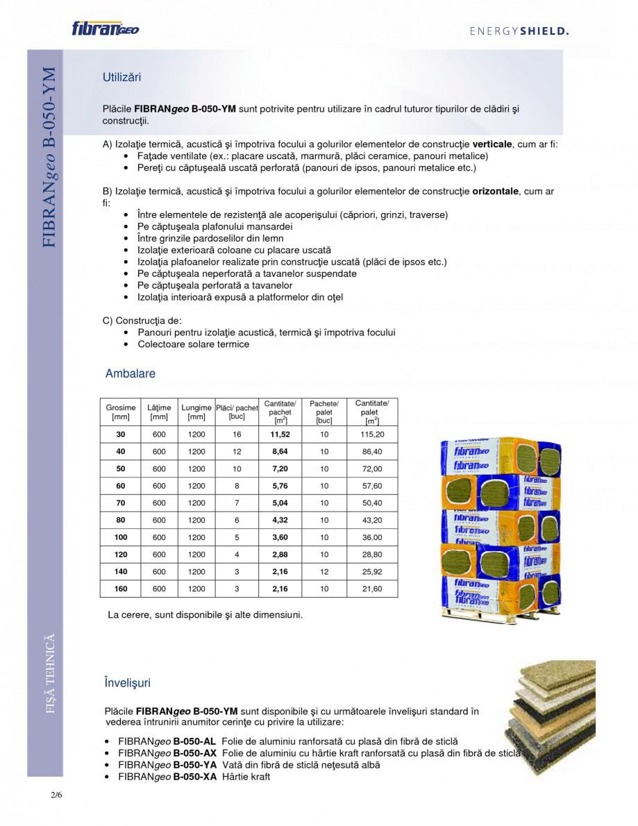 Pagina 2 - Placi izolante flexibile FIBRANgeo Β-050-YM Fisa tehnica Romana  de 1520° C, apoi...