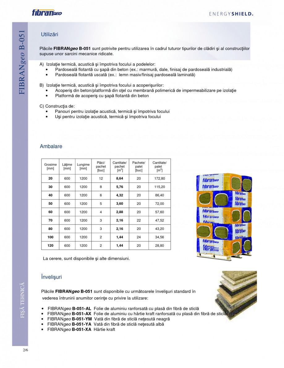 Pagina 2 - Placi izolante rigide FIBRANgeo Β-051 Fisa tehnica Romana compuşi speciali din...