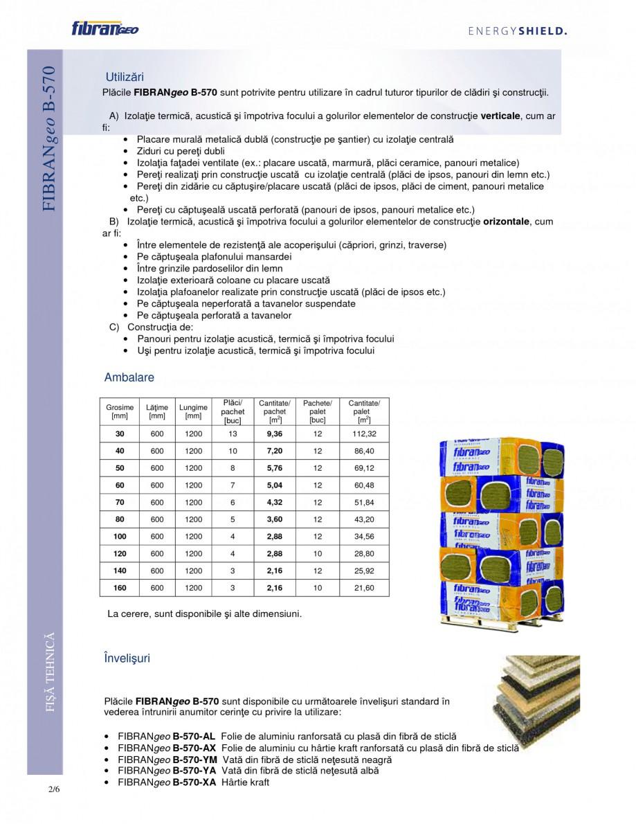 Pagina 2 - Placi izolante semirigide FIBRANgeo Β-570 Fisa tehnica Romana li din siliciu care...