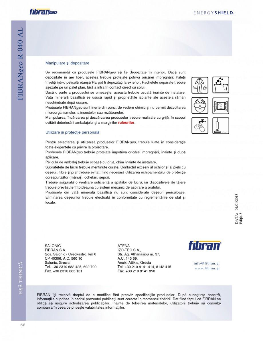 Pagina 6 - Rulouri izolante FIBRANgeo R-040-AL Fisa tehnica Romana acustică αs (EN ISO 354)...