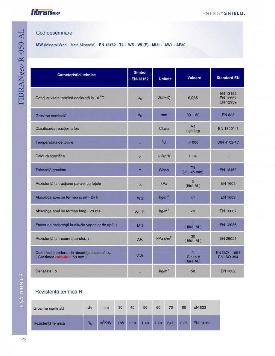 Pagina 3 - Rulouri izolante FIBRANgeo R-050-AL Fisa tehnica Romana microorganisme, insecte sau...