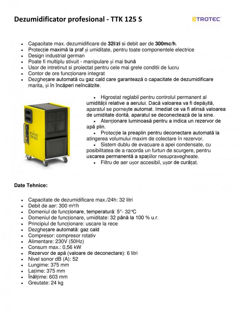 Pagina 1 - Dezumidificator profesional TROTEC Germany TTK 125 S Fisa tehnica Romana Dezumidificator ...