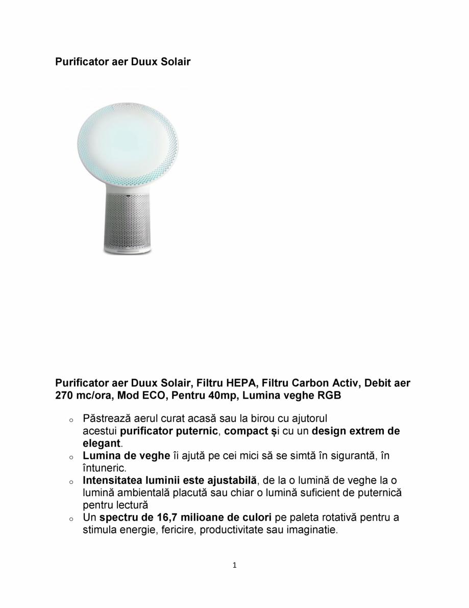Pagina 1 - Purificator aer DUUX Solair Fisa tehnica Romana Purificator aer Duux Solair  Purificator ...
