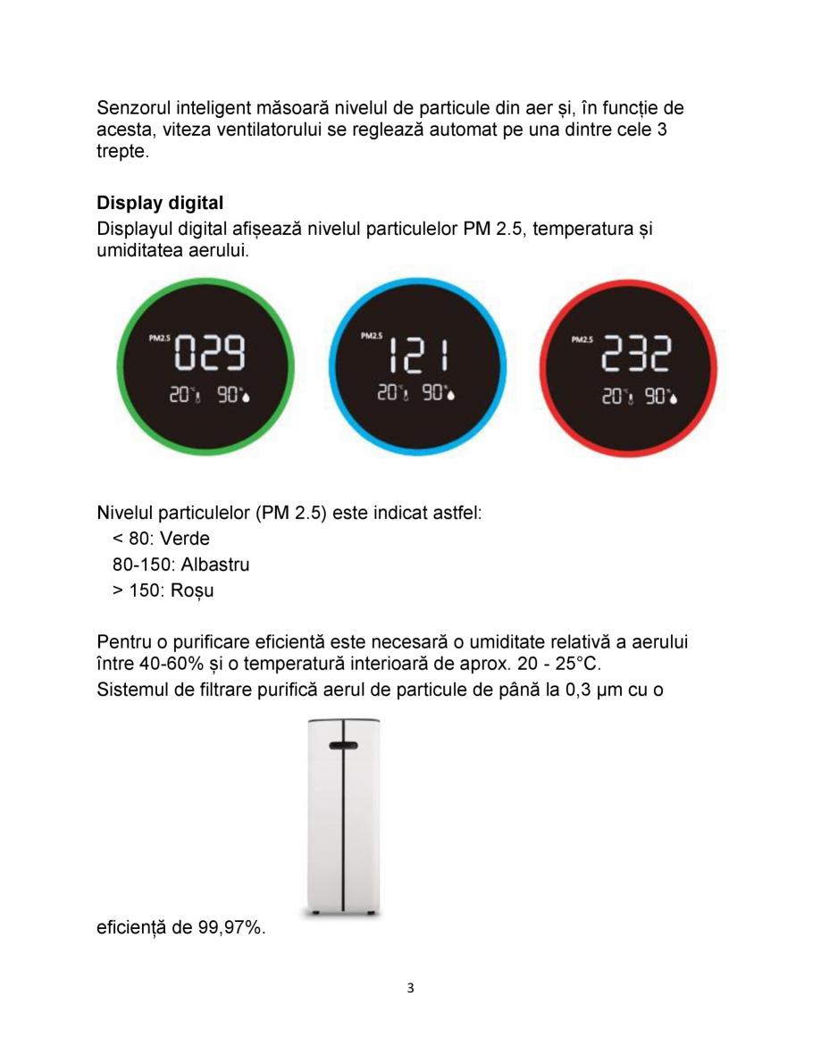 Pagina 3 - Purificator de aer  Clean Air Optima CA510 Pro Fisa tehnica Romana treapta 1).  4 ...