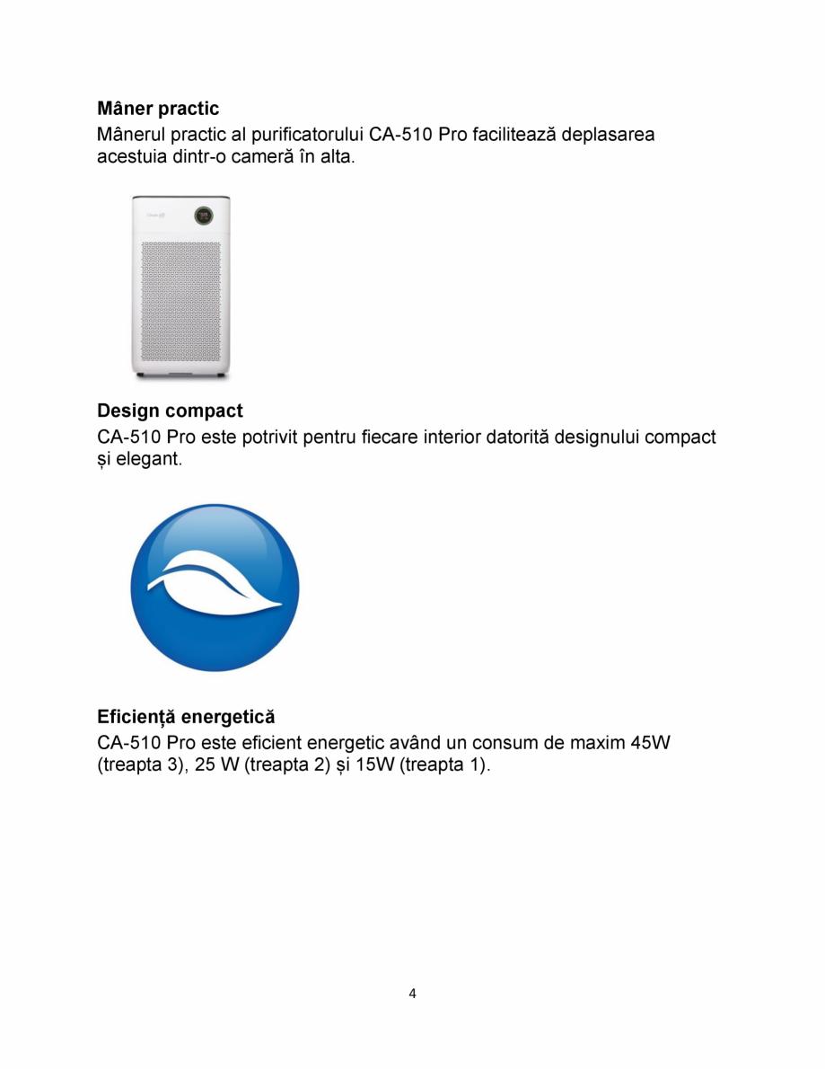 Pagina 4 - Purificator de aer  Clean Air Optima CA510 Pro Fisa tehnica Romana Lock • Timer 1/4/8...