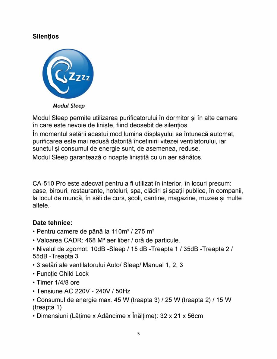 Pagina 5 - Purificator de aer  Clean Air Optima CA510 Pro Fisa tehnica Romana