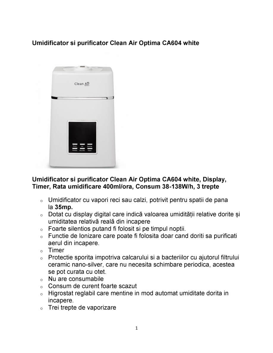 Pagina 1 - Umidificator si purificator  Clean Air Optima CA604 White  Fisa tehnica Romana...