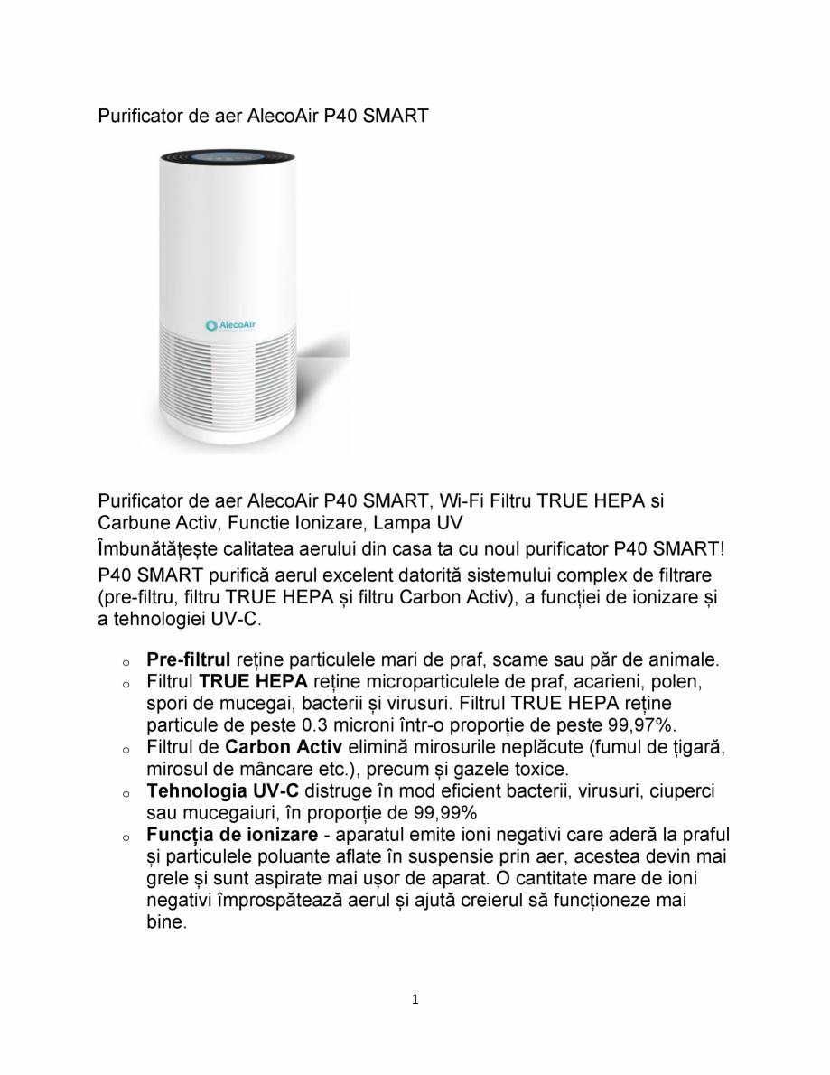 Pagina 1 - Purificator de aer  AlecoAir P40 Smart  Fisa tehnica Romana Purificator de aer AlecoAir...